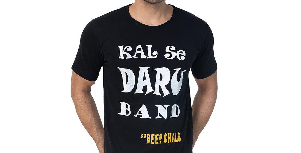 Black Kal Se Daru Band Printed Cotton Tshirt For Men