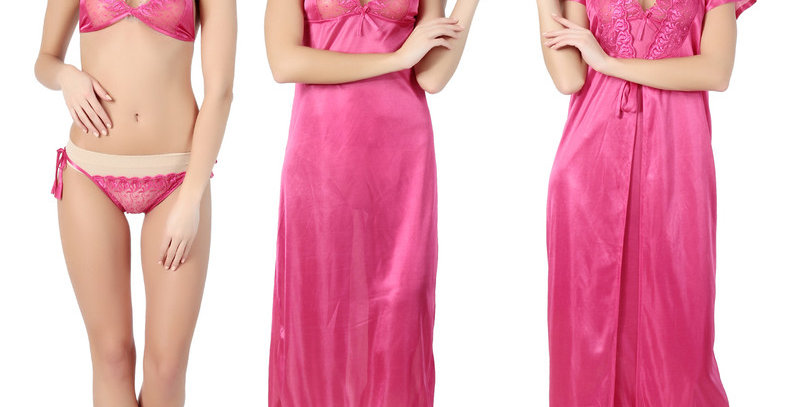 MGrandBear 4 pc Satin Nighty For Women Robe,Gown,Bra, penty Set