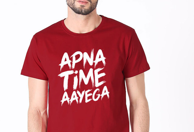 Maroon APNA TIME AAYEGA Printed Cotton T-shirt For Men