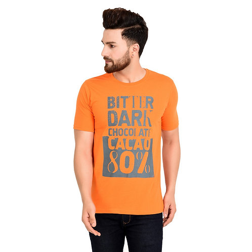 Orange  Printed Cotton T-shirt For Men