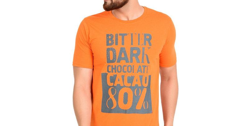 Orange  Printed Cotton T-shirt For Men