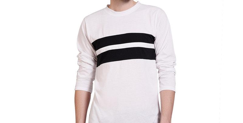 WHITE  full sleeve cotton T-shirt for men