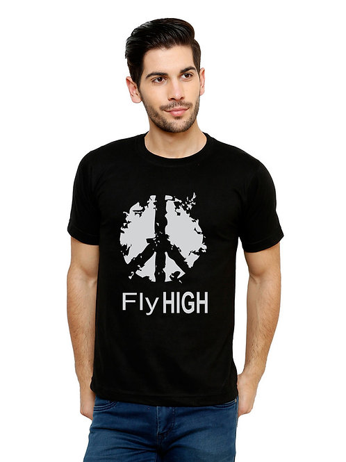 Black Flyhigh Printed Cotton T-shirt For Men