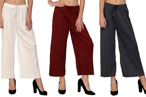 POLKA DOT Palazzo For Women Pack Of 3 Waist Size 28 inch to 36 inch
