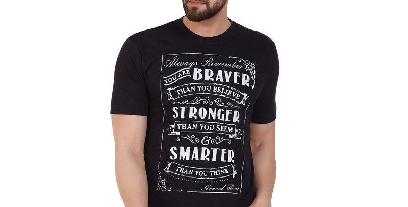 Black stronger printed cotton T-shirt for men