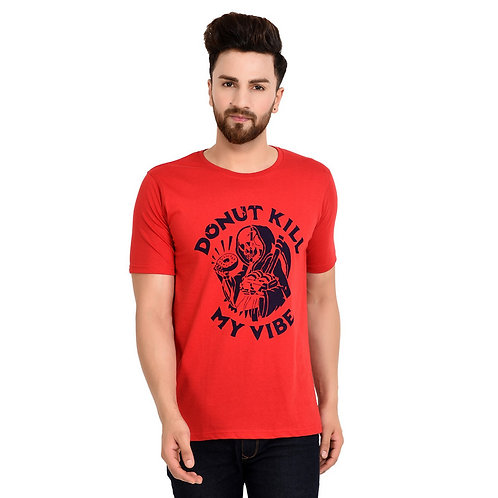 Red Do Not Printed Cotton T-Shirt For Men