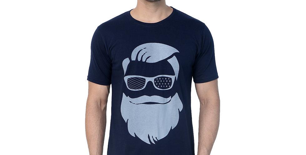 Navy Beard Printed Cotton Tshirt For Men