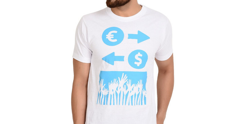 White Dollar Printed Cotton Tshirt For Men
