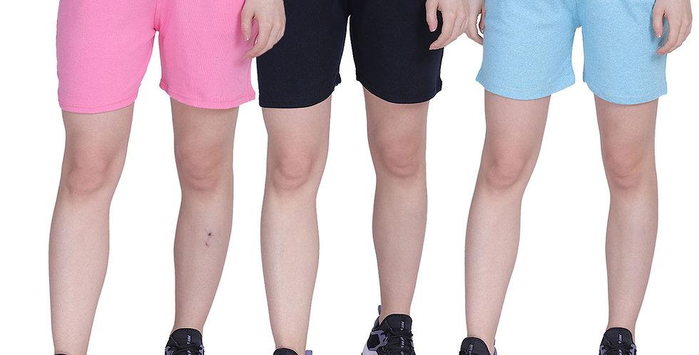 MGrandbear Women's Rib Cotton Stretchable Shorts/Yoga/Sports Shorts pack of 3