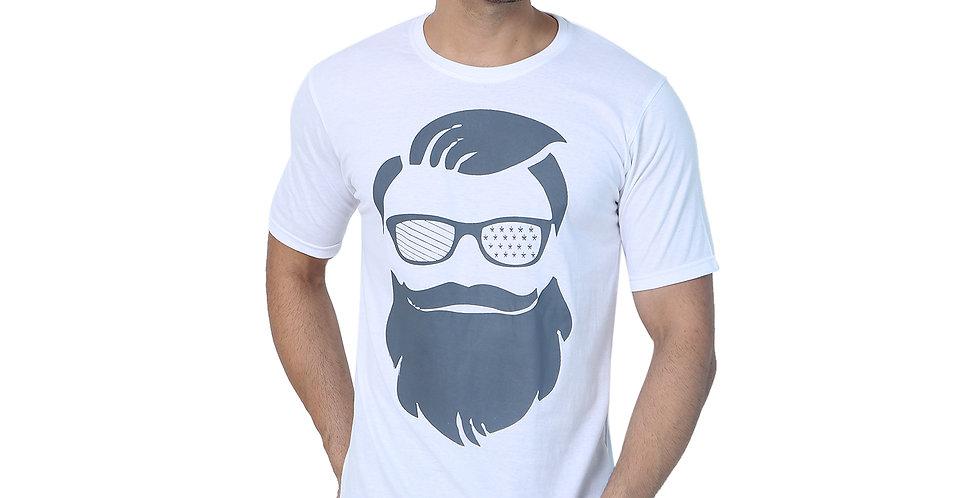 White Beard Printed Cotton Tshirt For Men