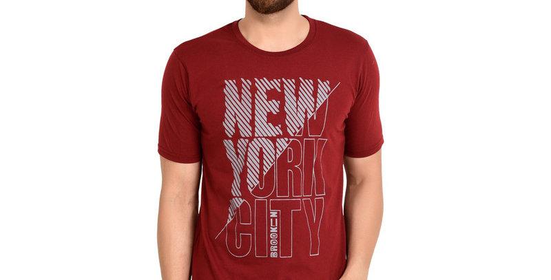 Maroon NYC Printed Cotton Tshirt For Men
