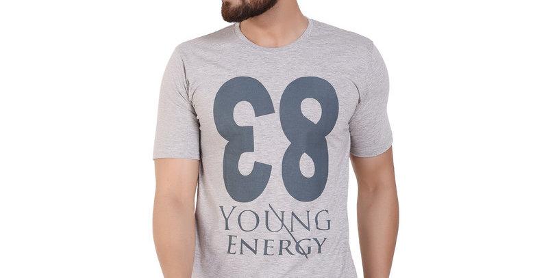 Grey 83 Printed Cotton T-shirt For Men