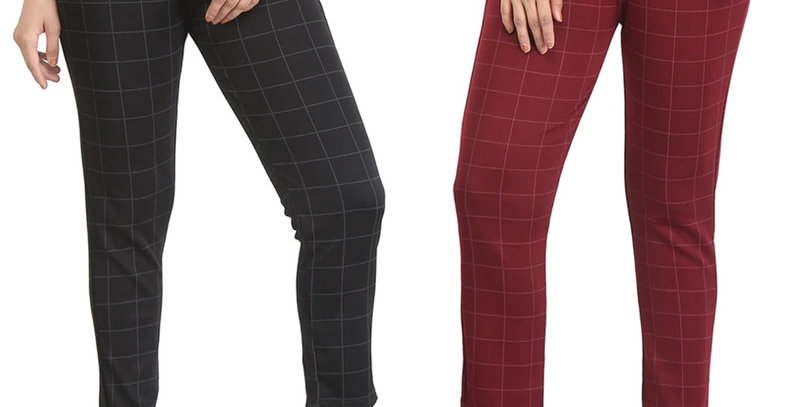 Streachable Checked Jegging / Pant For Women Pack Of 2