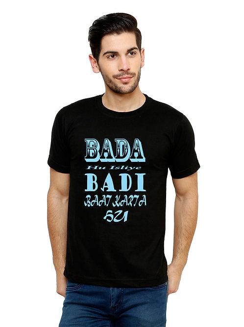 Black Bada hu badi bat Printed Cotton T-shirt For Men