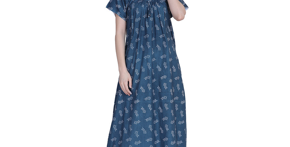 MGrandbear Women's Cotton Printed Maxi Maternity Nighty (Baby Feeding)