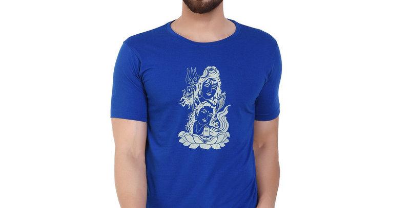 Sankar parvati Blue Printed Cotton Tshirt For Men
