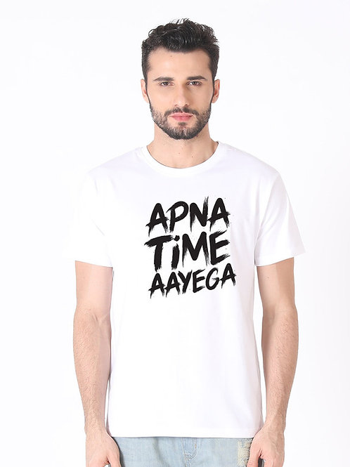 White APNA TIME AAYEGA Printed Cotton T-shirt For Men