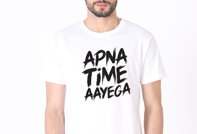 White APNA TIME AAYEGA Printed Cotton T-shirt For Men