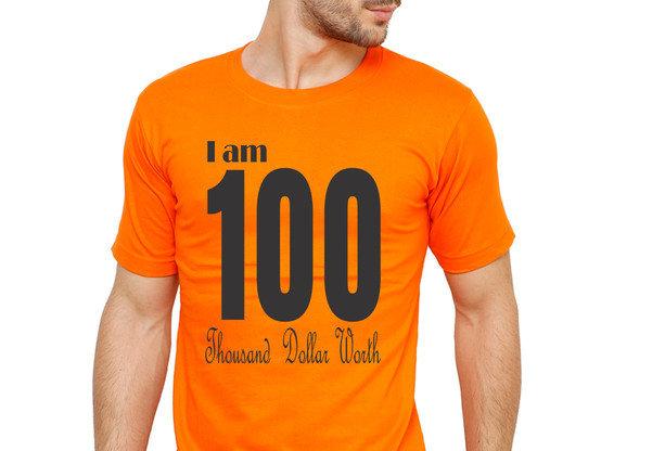 Orange 100 Printed Cotton T-shirt For Men