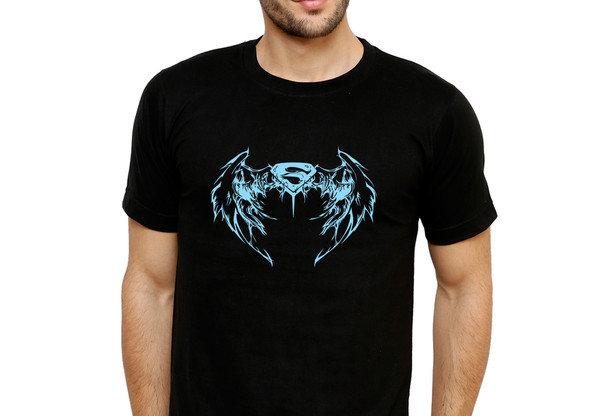 Black Superman Printed Cotton T-shirt For Men