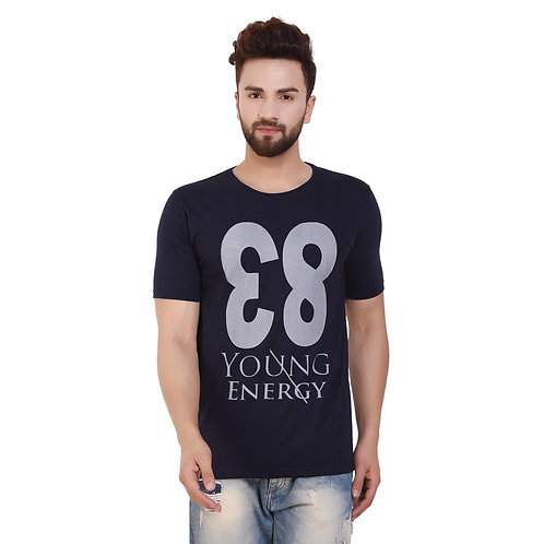 Navy Blue  83 Printed Cotton T-shirt For Men