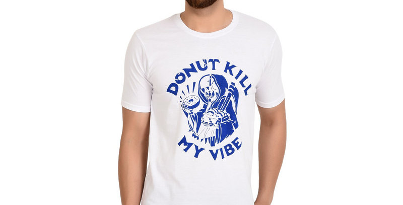 White Do Not Printed Cotton T-Shirt For Men