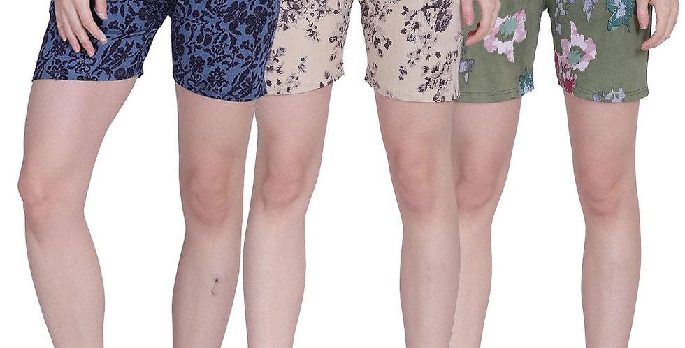 MGrandbear Women's Denim Stretchable Shorts/Yoga Shorts/Sports Shorts Pack of 3