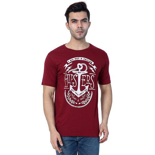 Mgrandbear Maroon Printed Cotton T-Shirt For Men