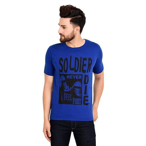 Blue Soldier Printed Cotton T-shirt For Men