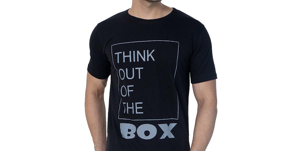 Black Box Printed Cotton Tshirt For Men