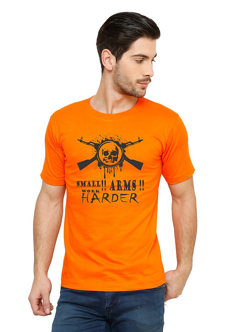 Orange Small arms Printed Cotton T-shirt For Men
