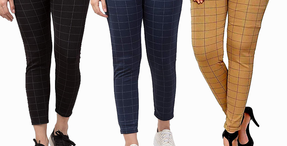 Streachable Checked Jegging / Pant For Women Pack Of 3