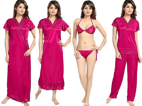 Mgrandbear  6 Piece Nighty with Robe, Top with Pyjama and Bra with Panty