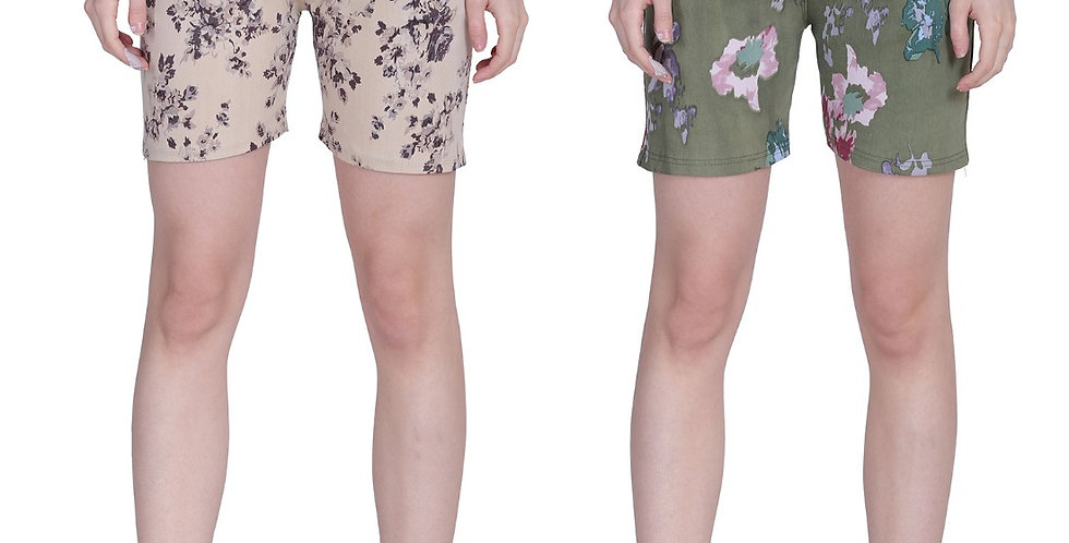 MGrandbear Women's Denim Stretchable Shorts/Yoga Shorts/Sports Shorts Pack of 2