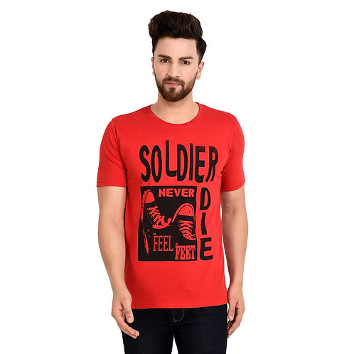 Red Soldier Printed Cotton T-shirt For Men