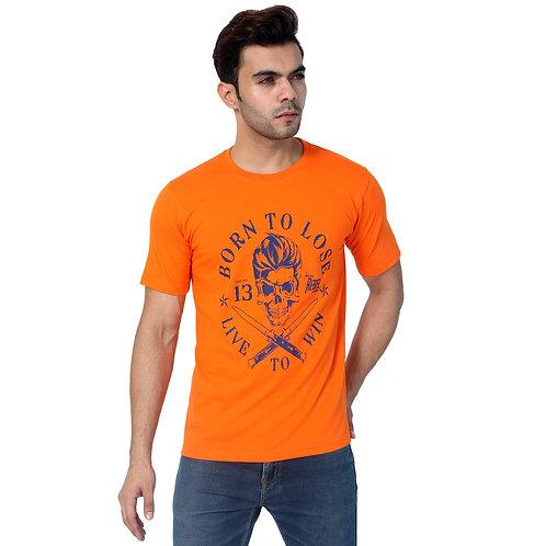 Orange Born Printed Cotton T-shirt For Men
