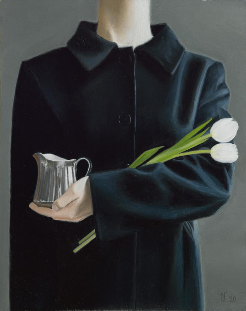 'Coat, tulips & jug'