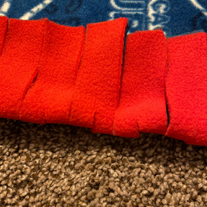 fleece fabric strips with slits cut in the middle