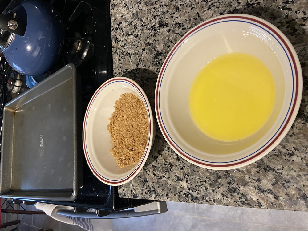 Melted butter, brown sugar and cinnamon mix, non-stick pan