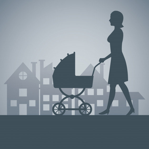 silhouette-mother-with-carriage-baby-wal