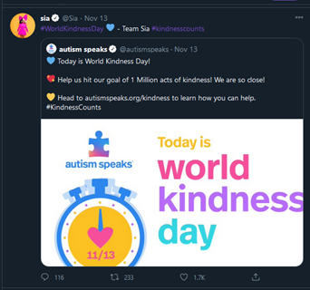 a tweet from autism speaks which says that today is world kindness day asking followers to help them hit their goal of 1 million acts of kindness by heading to their website. Sia has retweeted this with the hashtag World Kindness Day, a blue heart emoji and the hashtag Kindness Counts