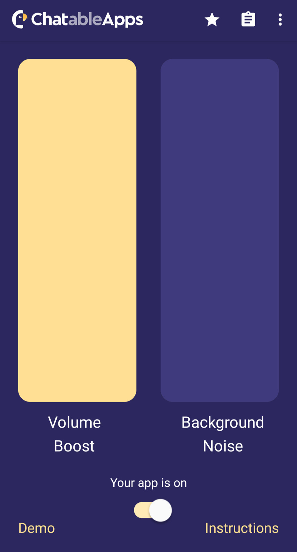 An image of the Chatable App. It has a purple background with two tall rectangular shapes, the left is a yellow/beige, the one on the right is a lighter shade of purple. Underneath the left shape is white writing that reads 'volume boost' and under the right image reads 'backfround noise'. There is switch to turn the app on and at the bottom left corner in yellow reads 'demo' and the bottom right reads 'instructions'