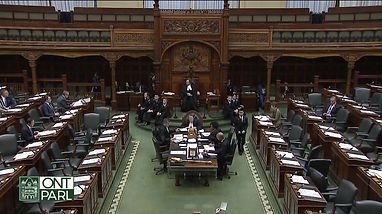 Standing ovation in Provincial Legislative Assembly of Ontario