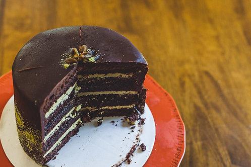 Chocolate Raspberry Pistachio Cake