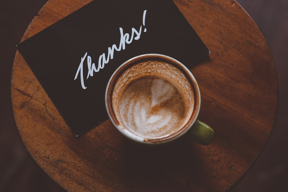 Grab a cup of coffee and write a thank you note!