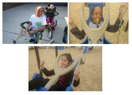 Students using adapted playground material to have fun.