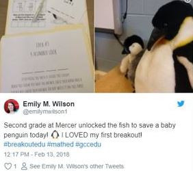 Breaking out of the worksheet to help the baby penguin