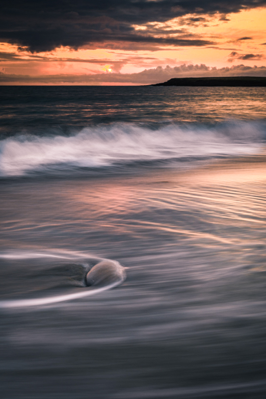 Skara brae beach sunset