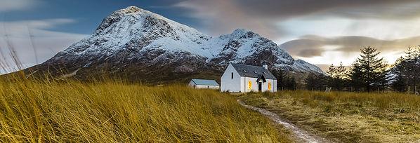 Cottage, scotland, snow, Buachaille Etive Mòr, montain, photography