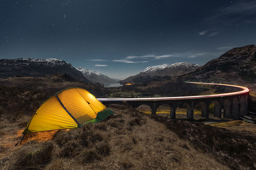 Glenfinnan Viaduct | Tent and train light trail